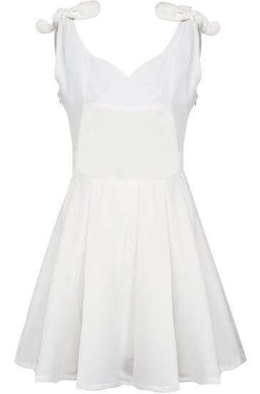 White Sleeveless Bow Pleated Flare Dress