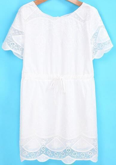 White Short Sleeve Embroidered Drawstring Dress