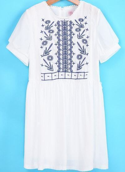 White Short Sleeve Embroidered Loose Dress