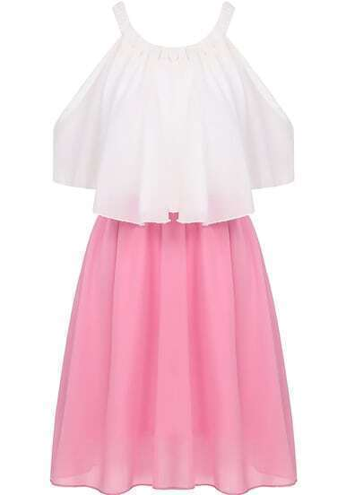 Pink Off the Shoulder Pleated Chiffon Dress