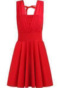 Red V Neck Sleeveless Pleated Chiffon Dress