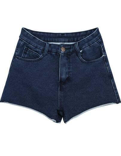 Navy Elastic Slim Pockets Denim Shorts