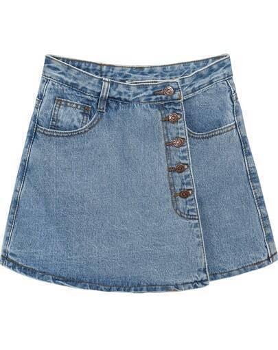 Blue Pockets Denim Skirt Shorts