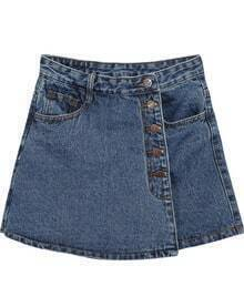 Navy Pockets Denim Skirt Shorts