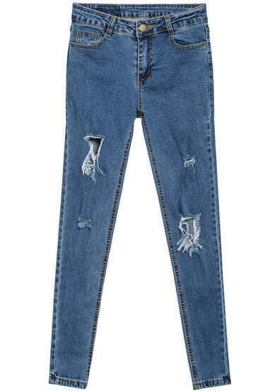 Blue Ripped Pockets Denim Pant