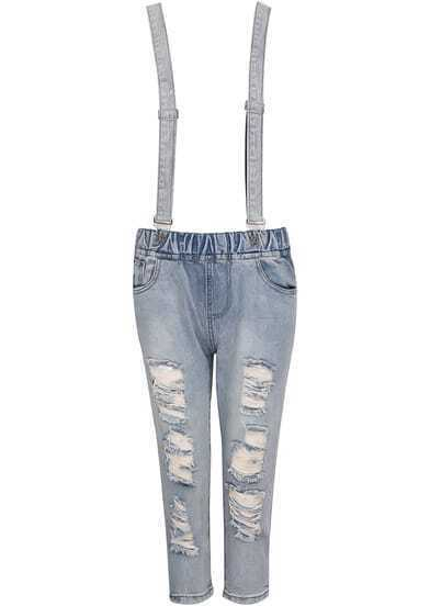 Blue Strap Vintage Pockets Denim Pant