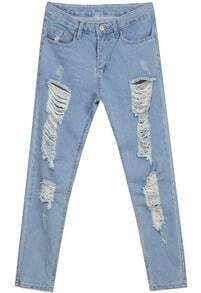 Light Blue Ripped Loose Denim Pant