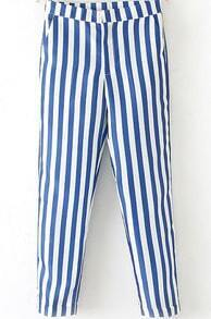 Blue White Vertical Stripe Pocket Pant
