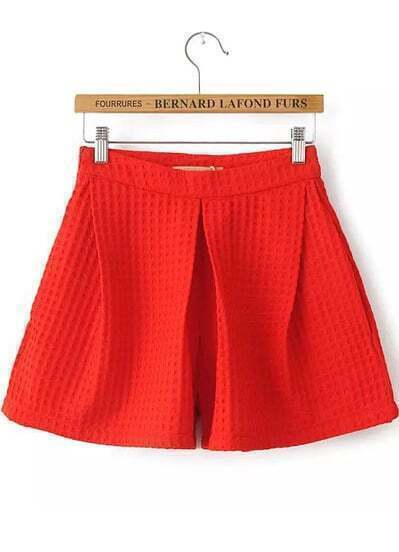 Red High Waist Loose Shorts