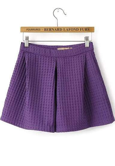 Purple High Waist Loose Shorts