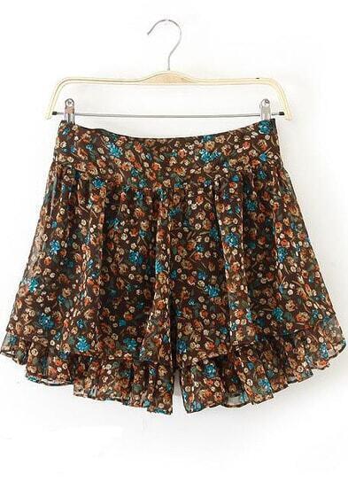 Khaki Floral Chiffon Loose Shorts