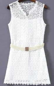 White V Neck Sleeveless Floral Crochet Lace Dress