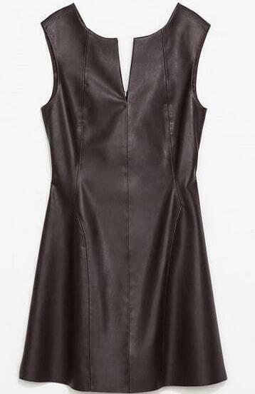 Black V Neck Sleeveless Backless PU Dress