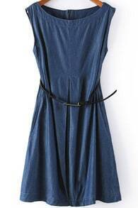 Navy Sleeveless Zipper Pleated Dress