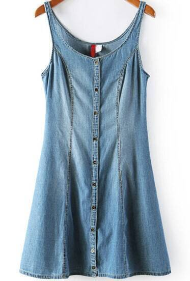 Blue Spaghetti Strap Backless Bleached Denim Dress