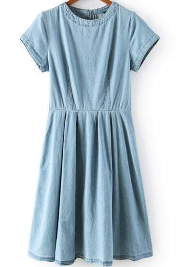 Blue Short Sleeve Zipper Pleated Denim Dress
