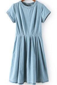 Blue Short Sleeve Zipper Pleated Denim Dress
