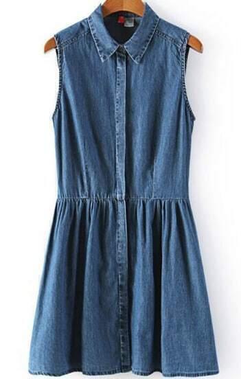 Navy Lapel Sleeveless Pleated Denim Dress