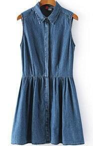 Navy Lapel Sleeveless Pleated Denim Dress
