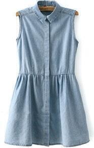Light Blue Lapel Sleeveless Pleated Denim Dress