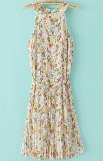 Yellow Sleeveless Floral Pleated Chiffon Dress