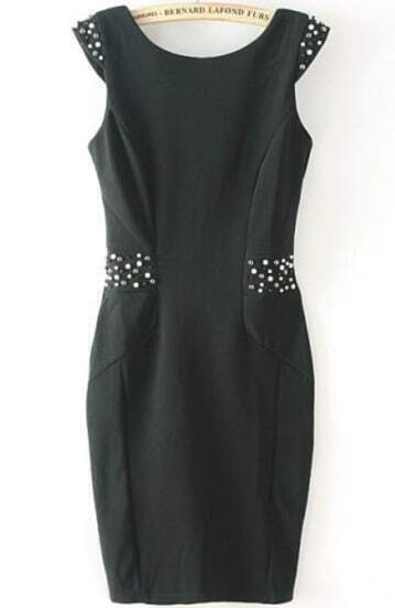 Black Sleeveless Bead Slim Bodycon Dress