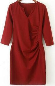 Wine Red V Neck Half Sleeve Bodycon Dress