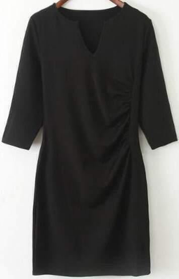 Black V Neck Half Sleeve Bodycon Dress