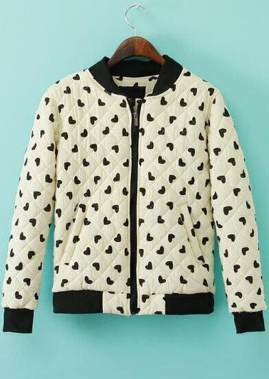 White Long Sleeve Hearts Print Jacket