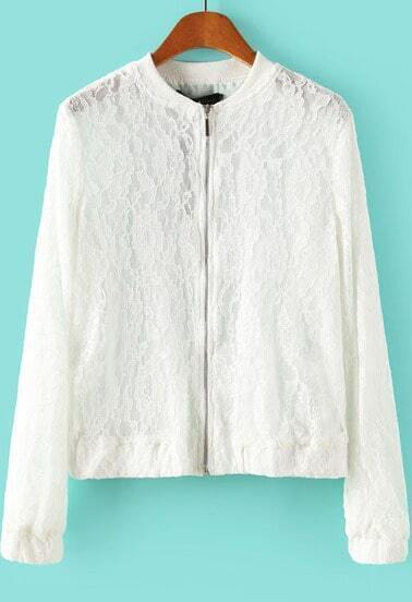 White Long Sleeve Embroidered Lace Crop Jacket