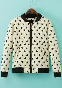 White Long Sleeve Hearts Print Jacket