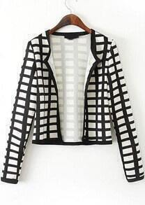 Black White Long Sleeve Plaid Crop Jacket
