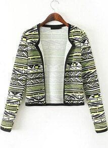 Yellow Long Sleeve Geometric Print Crop Jacket