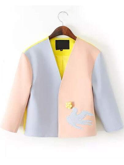 Yellow V Neck Swallow Embroidered Outerwear