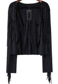Black Long Sleeve Tassel Crop Outerwear