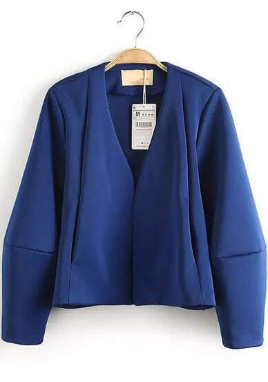 Blue V Neck Long Sleeve Crop Outerwear