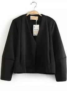 Black V Neck Long Sleeve Crop Outerwear