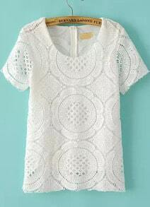 White Short Sleeve Hollow Lace T-Shirt