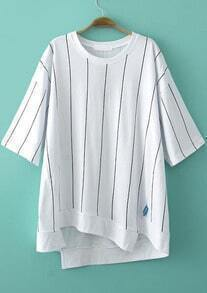 White Short Sleeve Vertical Stripe Asymmetrical T-Shirt