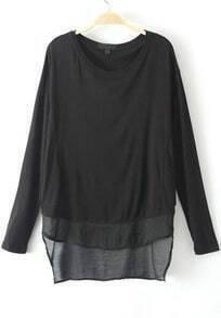 Black Long Sleeve Modal Loose T-Shirt