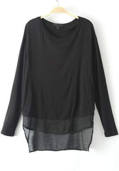 Black Long Sleeve Modal Loose T-Shirt
