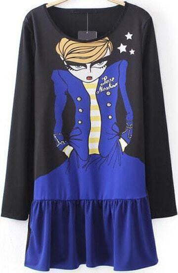 Black Long Sleeve Cartoon Girl Print T-Shirt