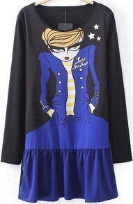 Black Long Sleeve Cartoon Girl Print T-Shirt