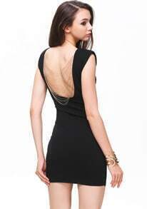 Black Sleeveless Backless Chain Bodycon Dress