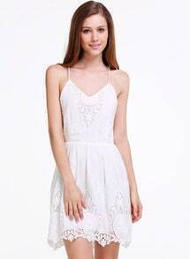 White Spaghetti Strap Backless Embroidered Dress