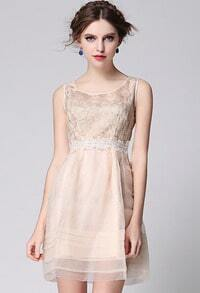 Apricot Sleeveless Embroidered Organza Flare Dress