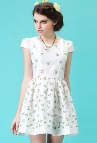 White Short Sleeve Embroidered Slim Dress