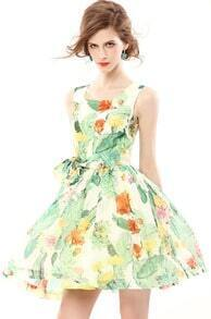 Green Sleeveless Floral Bow Flare Dress