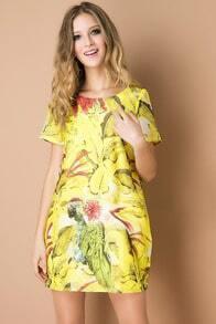 Yellow Short Sleeve Parrot Print Loose Dress