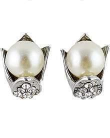 Silver Pearl Diamond Stud Earrings